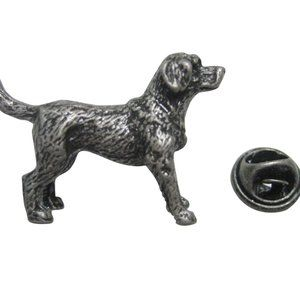 Dark Silver Toned Retriever Dog Lapel Pin